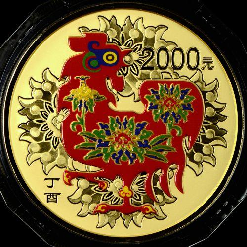 2017年150克生肖鸡彩金币