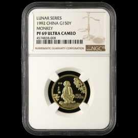 1992年8克生肖猴金币