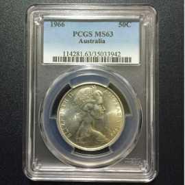 1966年澳大利亚首枚也是唯一一枚圆形50分流通银币