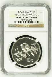 1994年中国近代名画飞禽-喜鹊2/3盎司十二边形精制银币NGC PF69